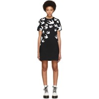 Mcq By Alexander Mcqueen Black And White Swallow Signature T Shirt Dress