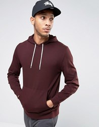 Asos Hoodie In Burgundy Red
