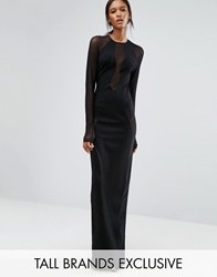 Taller Than Your Average Ttya Black Seredo Long Sleeve Mesh Insert Maxi Dress Black