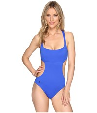Polo Ralph Lauren St. Barts Solid Cut Outs Tank One Piece French Blue Women's Swimsuits One Piece