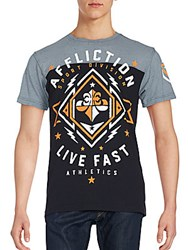 Affliction Path To Victory Printed Cotton Tee Black Grey