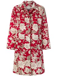 La Doublej Floral Print Coat Nylon Red