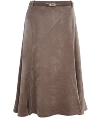Cc Petite Belted Taupe Cord Skirt