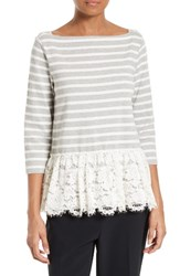 Kate Spade Women's New York Stripe And Lace Flounce Top