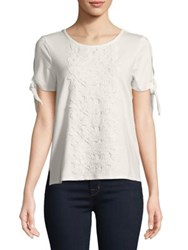 Ivanka Trump Floral Embroidered Lace Tee Black Iris