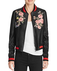Bagatelle Faux Leather Floral Bomber Jacket Black