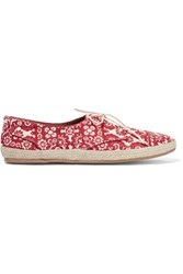 Tabitha Simmons Dolly Printed Canvas Espadrille Sneakers Claret