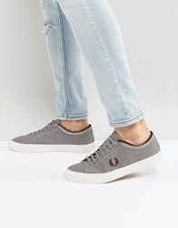 Fred Perry Kendrick Tipped Cuff Canvas Plimsolls In Grey Falcon Grey