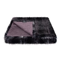Helen Moore Faux Fur Throw Signature Black Quail