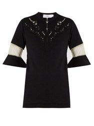 Toga Embellished Yoke Fluted Cuff Top Black