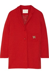 Maje Fripe Woven Cotton Blend Coat Red