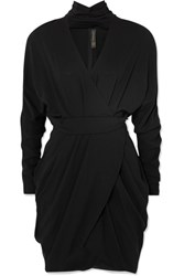 Versace Wrap Effect Crepe Mini Dress Black