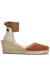 Iris And Ink Suede Canvas Wedge Espadrilles Tan