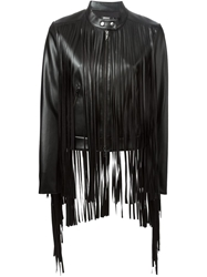 Dkny Fringed Leather Jacket Black