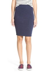 Junior Women's Lily White Double Knit Midi Skirt Navy2