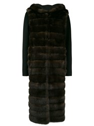 Liska Hooded Fur Coat Brown