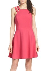 French Connection Women's Whisper Light Fit And Flare Dress Hot Primrose