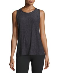 Beyond Yoga Featherweight Space Dye Twisted Open Back Tank Black Gray
