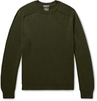 Berluti Cotton And Mulberry Silk Blend Sweater Army Green