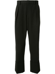 Wooyoungmi Cropped Pleated Trousers Black