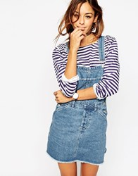 Asos Denim Classic Dungaree Dress With Raw Hem In Mid Wash Blue Mid Blue
