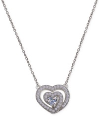 Macy's Cubic Zirconia Swirl Heart Pendant Necklace In Sterling Silver No Color