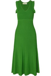 Michael Michael Kors Ruffled Ribbed Stretch Knit Midi Dress Green