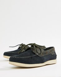 Ben Sherman Boat Shoes In Navy Leather Blue