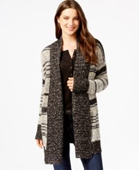 G.H. Bass And Co. Striped Open Front Cardigan Grey Dusk Combo