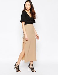 Love Lace Up Maxi Skirt Beige