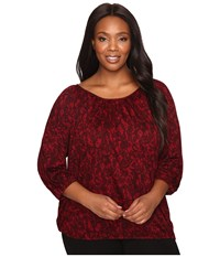 Michael Michael Kors Plus Size Umbria Lace Peasant Top Cinnabar Women's Clothing Red