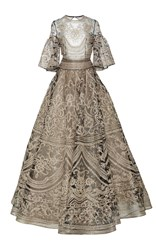 Naeem Khan Embroidered Bell Sleeves Ball Gown Gold