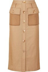 Rejina Pyo Lily Button Detailed Cotton And Linen Blend And Chiffon Midi Skirt Beige
