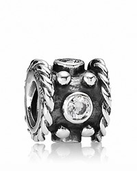 Pandora Design Pandora Charm Oxidized Sterling Silver And Cubic Zirconia Crown Moments Collection Silver Clear