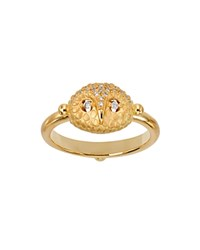 Temple St. Clair 18K Yellow Gold Pave Diamond Mini Owl Ring White Gold