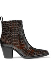 Ganni Callie Croc Effect Leather Ankle Boots Brown