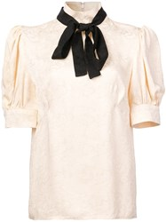 Jill Stuart Bow Tie Blouse Nude And Neutrals