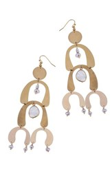Nakamol Design Brass Arch Moonstone And Freshwater Pearl Statement Earrings White