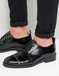 Asos Derby Shoes In Black Leather With Stud Detailing Black