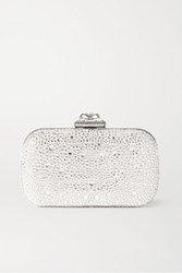 Alexander Mcqueen Spider Faux Pearl And Crystal Embellished Satin Clutch Silver