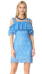 Three Floor Blue Bell Cold Shoulder Dress Cornflower Blue Nude