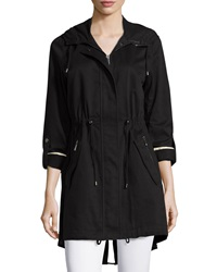 Dawn Levy Drawstring Rhinestone Hooded Trenchcoat Black