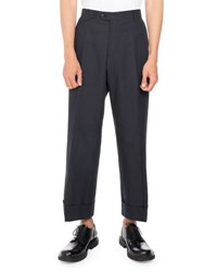 Dries Van Noten Penn Cropped Wide Leg Pants Navy