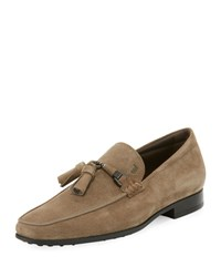 Tod's Suede Tassel Loafer Stone Gray Black