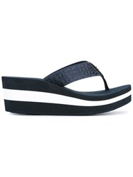 Tommy Hilfiger Striped Platform Flip Flops Women Nylon Rubber 39 Blue