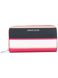 Armani Jeans Striped Wallet Pink And Purple