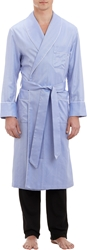 Barneys New York Herringbone Weave Robe Blue