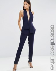 Asos Tall Halter Jumpsuit With Origami Fold Detail Navy