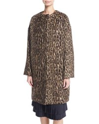 Brock Collection Cynthia Brushed Leopard Print Caban Coat Brown Pattern