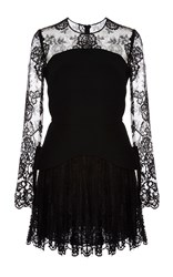 Elie Saab Crepe Cady And Lace Peplum Dress Black